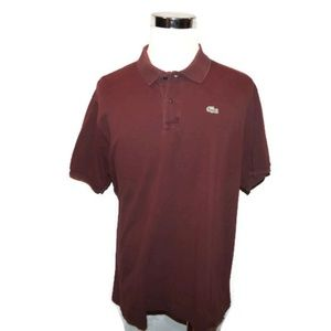 Lacoste Polo Shirt Men's 8 XL XXL Maroon Alligator